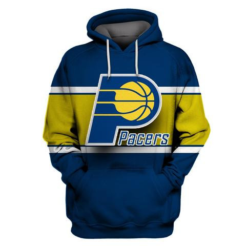 Pacers Blue All Stitched Hooded Sweatshirt