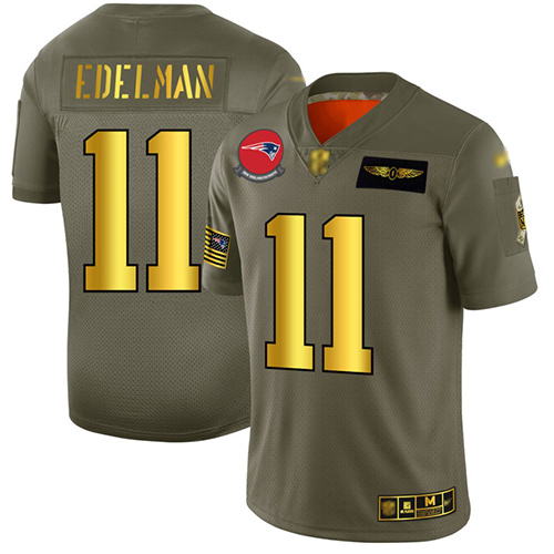 Patriots #11 Julian Edelman Camo Gold Men's Stitched Football Limited 2019 Salute To Service Jersey