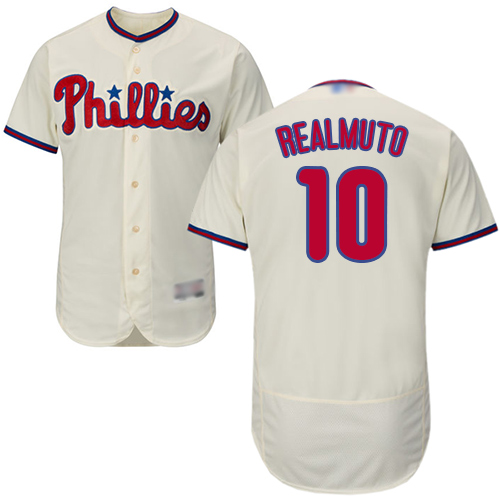 Phillies #10 J. T. Realmuto Cream Flexbase Authentic Collection Stitched Baseball Jersey