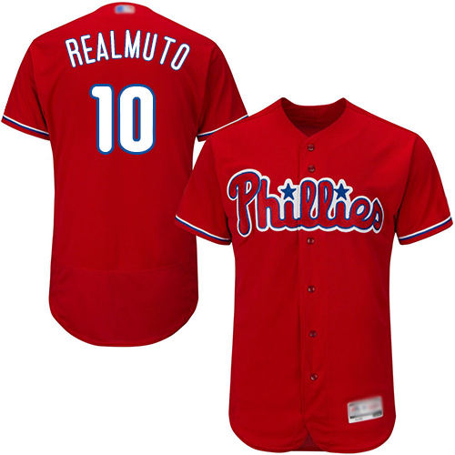 Phillies #10 J. T. Realmuto Red Flexbase Authentic Collection Stitched Baseball Jersey