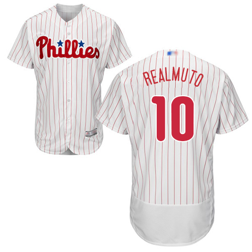 Phillies #10 J. T. Realmuto White(Red Strip) Flexbase Authentic Collection Stitched Baseball Jersey
