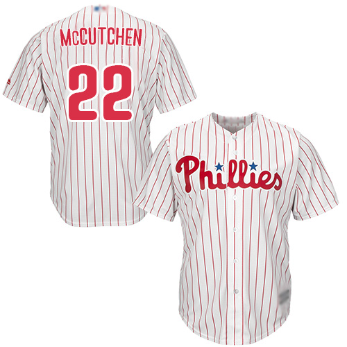 Phillies #22 Andrew McCutchen White(Red Strip) New Cool Base Stitched Baseball Jersey