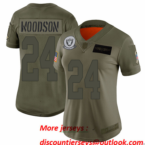 Raiders #24 Charles Woodson Camo Women's Stitched Football Limited 2019 Salute to Service Jersey