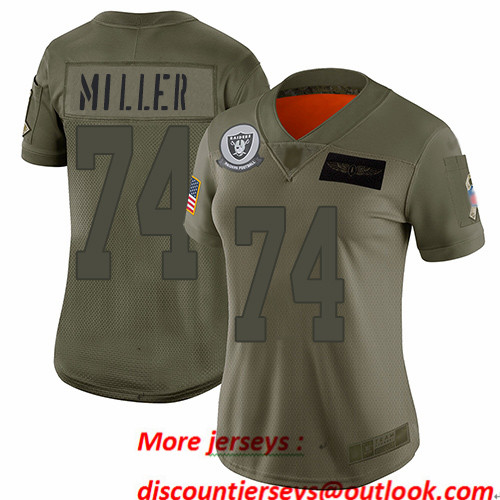 Raiders #74 Kolton Miller Camo Women's Stitched Football Limited 2019 Salute to Service Jersey