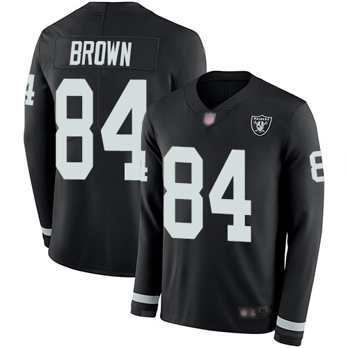 Raiders #84 Antonio Brown Black Team Color Men's Stitched Football Limited Therma Long Sleeve Jersey