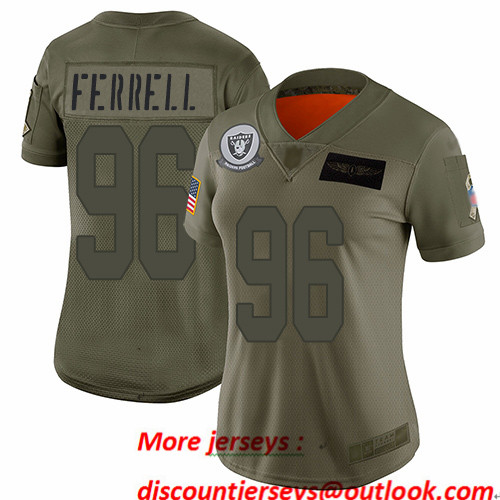 Raiders #96 Clelin Ferrell Camo Women's Stitched Football Limited 2019 Salute to Service Jersey