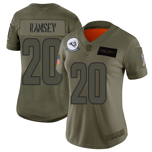 Rams #20 Jalen Ramsey Camo Women's Stitched Football Limited 2019 Salute to Service Jersey