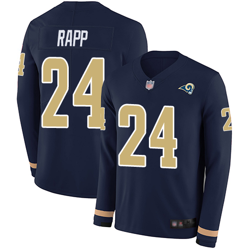 Rams #24 Taylor Rapp Navy Blue Team Color Men's Stitched Football Limited Therma Long Sleeve Jersey