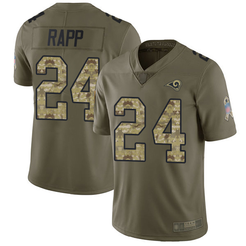 Rams #24 Taylor Rapp Olive Camo Men's Stitched Football Limited 2017 Salute To Service Jersey