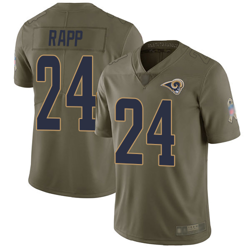 Rams #24 Taylor Rapp Olive Men's Stitched Football Limited 2017 Salute To Service Jersey