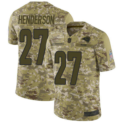 Rams #27 Darrell Henderson Camo Men's Stitched Football Limited 2018 Salute To Service Jersey