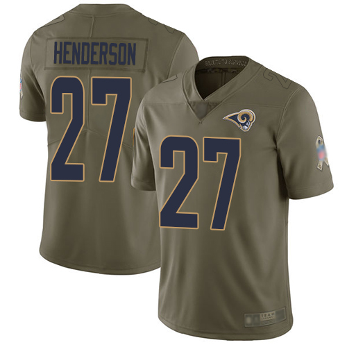 Rams #27 Darrell Henderson Olive Men's Stitched Football Limited 2017 Salute To Service Jersey