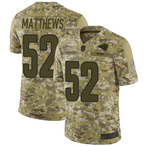 Rams #52 Clay Matthews Camo Men's Stitched Football Limited 2018 Salute To Service Jersey