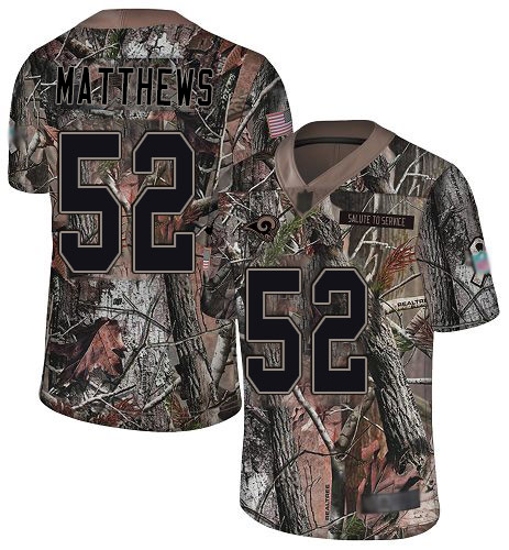 Rams #52 Clay Matthews Camo Men's Stitched Football Limited Rush Realtree Jersey