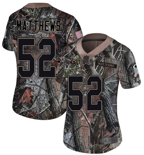 Rams #52 Clay Matthews Camo Women's Stitched Football Limited Rush Realtree Jersey