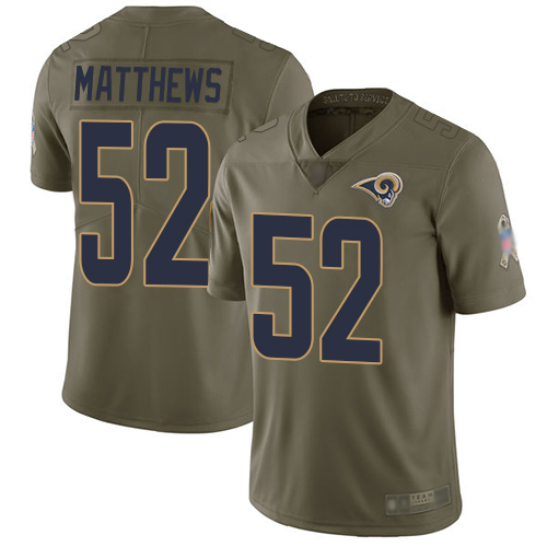 Rams #52 Clay Matthews Olive Youth Stitched Football Limited 2017 Salute to Service Jersey