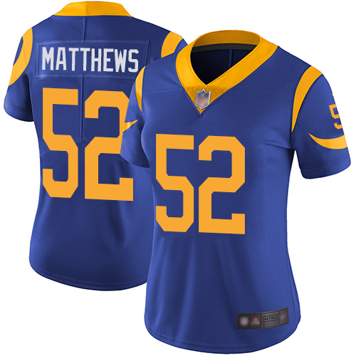 Rams #52 Clay Matthews Royal Blue Alternate Women's Stitched Football Vapor Untouchable Limited Jersey