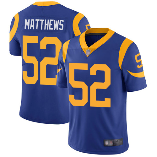 Rams #52 Clay Matthews Royal Blue Alternate Youth Stitched Football Vapor Untouchable Limited Jersey