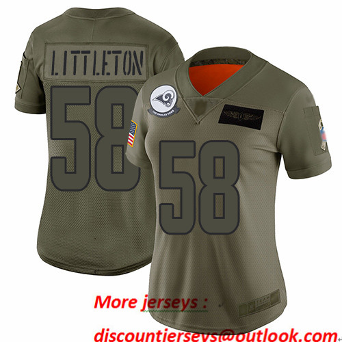 Rams #58 Cory Littleton Camo Women's Stitched Football Limited 2019 Salute to Service Jersey