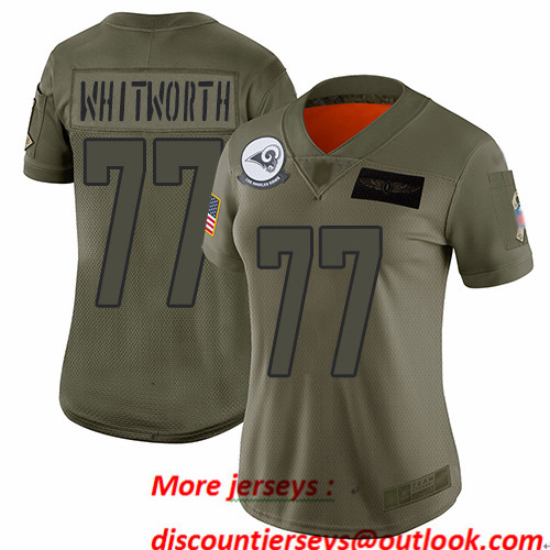 Rams #77 Andrew Whitworth Camo Women's Stitched Football Limited 2019 Salute to Service Jersey