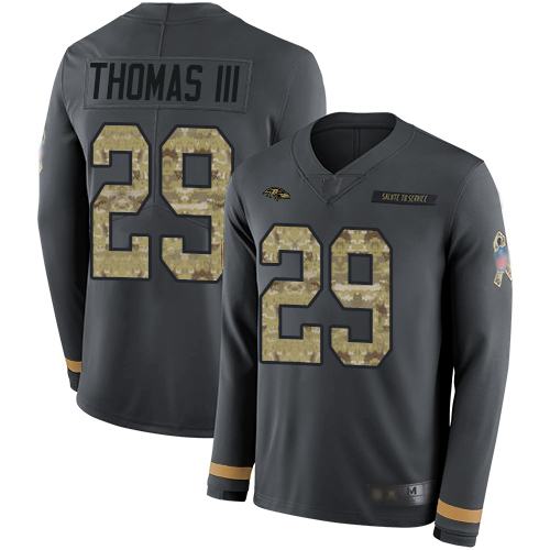 Ravens #29 Earl Thomas III Anthracite Salute to Service Men's Stitched Football Limited Therma Long Sleeve Jersey