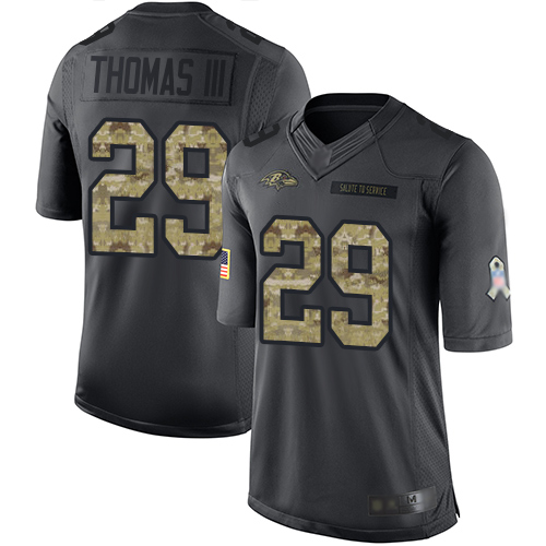 Ravens #29 Earl Thomas III Black Men's Stitched Football Limited 2016 Salute to Service Jersey