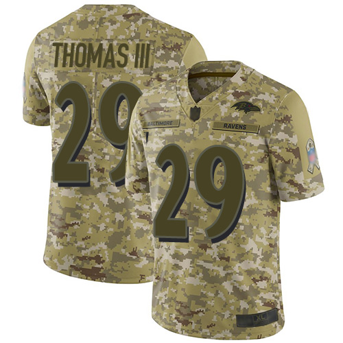 Ravens #29 Earl Thomas III Camo Men's Stitched Football Limited 2018 Salute To Service Jersey