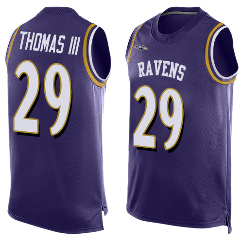 Ravens #29 Earl Thomas III Purple Team Color Men's Stitched Football Limited Tank Top Jersey
