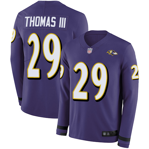 Ravens #29 Earl Thomas III Purple Team Color Men's Stitched Football Limited Therma Long Sleeve Jersey