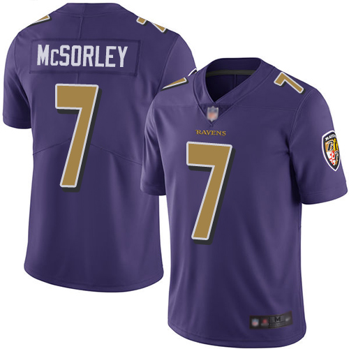 Ravens #7 Trace McSorley Purple Men's Stitched Football Limited Rush Jersey