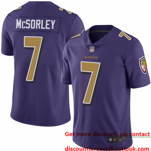 Ravens #7 Trace McSorley Purple Youth Stitched Football Limited Rush Jersey