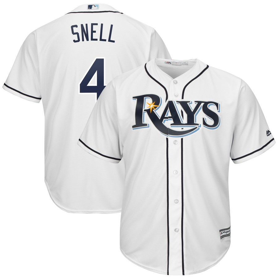 Rays 4 Blake Snell White Cool Base Jersey