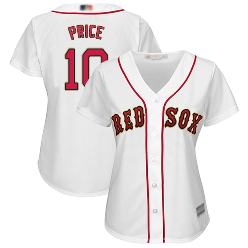 Red Sox #10 David Price White Home Women's Stitched Baseball Jersey