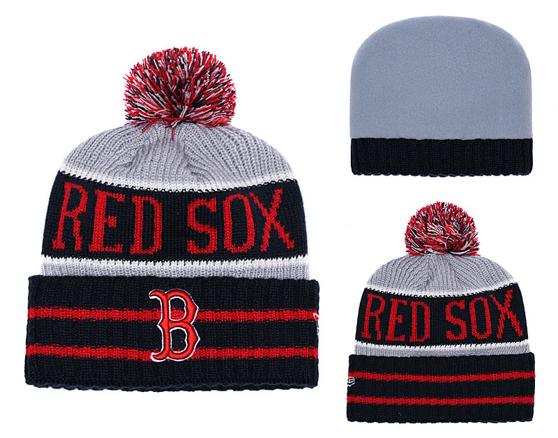 Red Sox Black Banner Block Cuffed Knit Hat With Pom YD