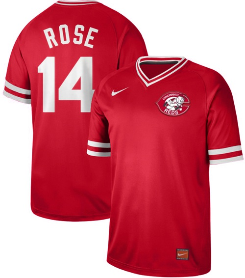 Reds #14 Pete Rose Red Authentic Cooperstown Collection Stitched Baseball Jersey