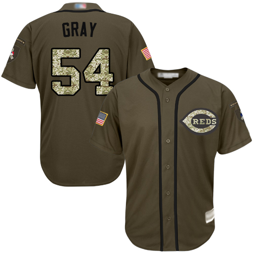 Reds #54 Sonny Gray Green Salute to Service Stitched Baseball Jersey