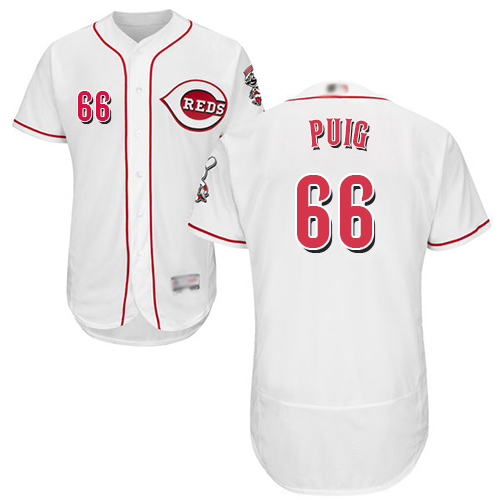 Reds #66 Yasiel Puig White Flexbase Authentic Collection Stitched Baseball Jersey