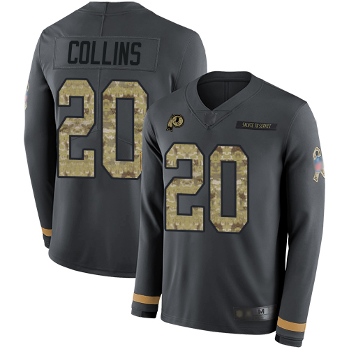 Redskins #20 Landon Collins Anthracite Salute to Service Men's Stitched Football Limited Therma Long Sleeve Jersey