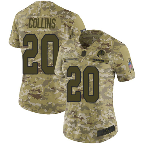 Redskins #20 Landon Collins Camo Women's Stitched Football Limited 2018 Salute to Service Jersey