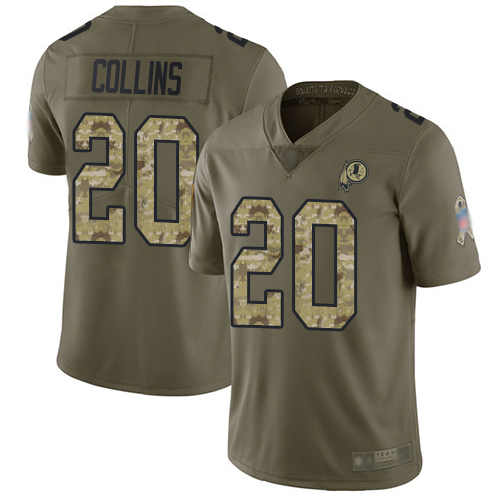 Redskins #20 Landon Collins Olive Camo Men's Stitched Football Limited 2017 Salute To Service Jersey
