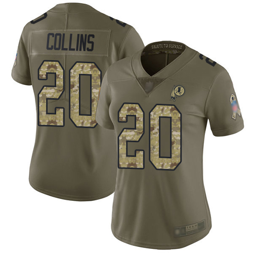 Redskins #20 Landon Collins Olive Camo Women's Stitched Football Limited 2017 Salute to Service Jersey