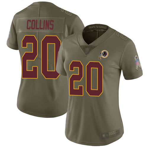 Redskins #20 Landon Collins Olive Women's Stitched Football Limited 2017 Salute to Service Jersey