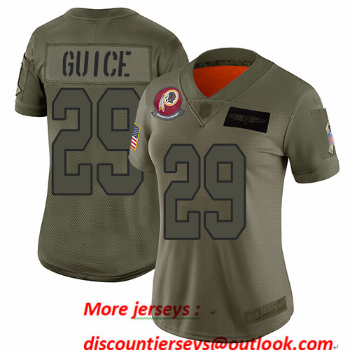 Redskins #29 Derrius Guice Camo Women's Stitched Football Limited 2019 Salute to Service Jersey