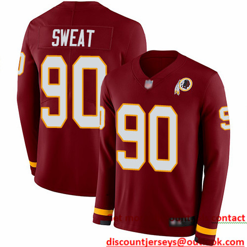 Redskins #90 Montez Sweat Burgundy Red Team Color Men's Stitched Football Limited Therma Long Sleeve Jersey