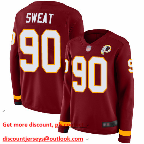 Redskins #90 Montez Sweat Burgundy Red Team Color Women's Stitched Football Limited Therma Long Sleeve Jersey