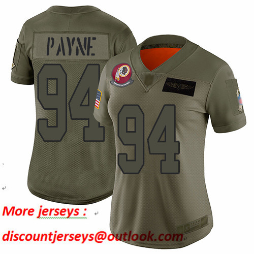 Redskins #94 Da'Ron Payne Camo Women's Stitched Football Limited 2019 Salute to Service Jersey