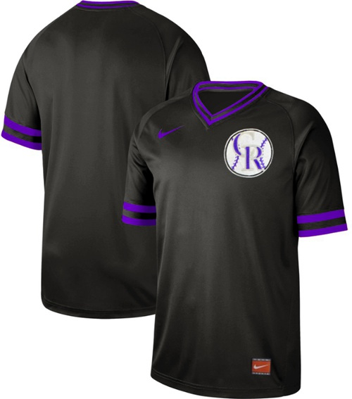 Rockies Blank Black Authentic Cooperstown Collection Stitched Baseball Jersey