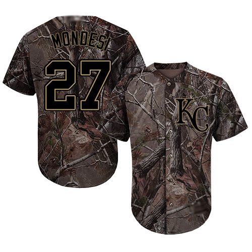 Royals #27 Raul Mondesi Camo Realtree Collection Cool Base Stitched Youth Baseball Jersey