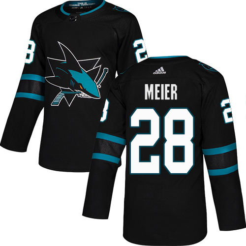 Sharks #28 Timo Meier Black Alternate Authentic Stitched Hockey Jersey