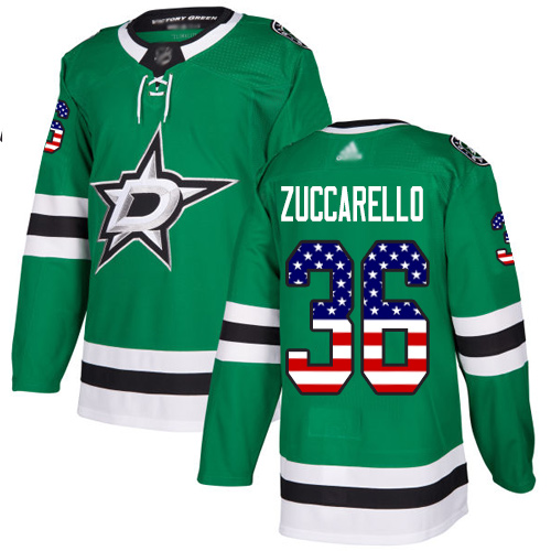 Stars #36 Mats Zuccarello Green Home Authentic USA Flag Stitched Hockey Jersey